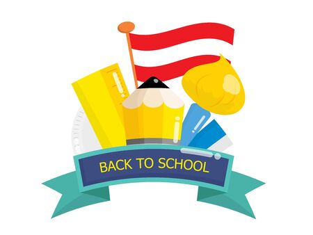 back to school with education gadgets vector illustration flat design