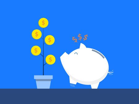 happy piggy bank with tree of money business concept vector illustration flat design