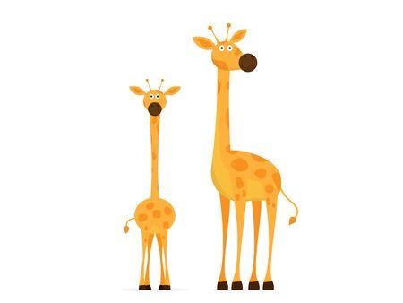 giraffe cartoon vector illustration flat design Ilustracja