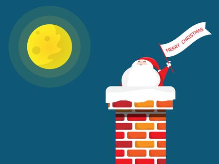 santa claus in chimney with merry christmas flag in christmas night vector illustration flat cartoon Illustration