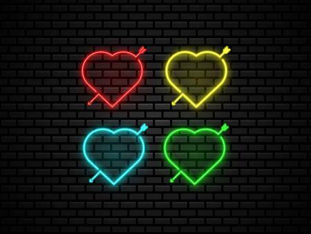 heart shape neon light at night vector illustration background