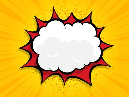 blank boom speech bubble comic book, pop art with halftone vector illustration background