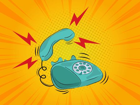 old retro telephone ringing with comic book background vector illustration Foto de archivo - 137405538