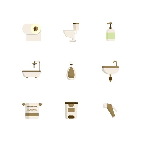toilet, bathroom icons set flat design vector illustration