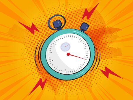 stopwatch ringing alarm comic background vector illustration