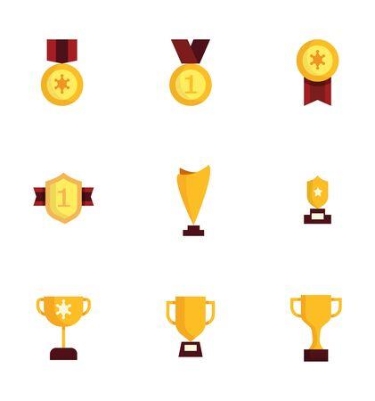 award and trophy icons set flat design vector illustration 일러스트