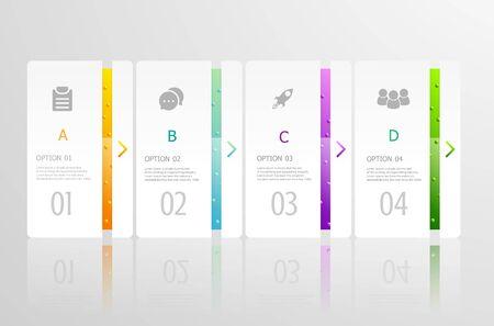 horizontal infographics 4 steps for business presentation vector illustration