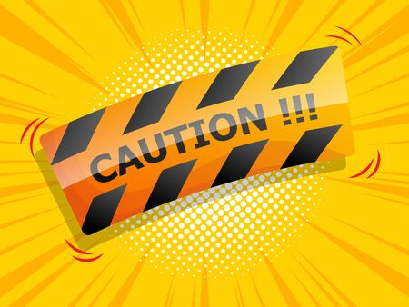 caution sign comic background vector illustration