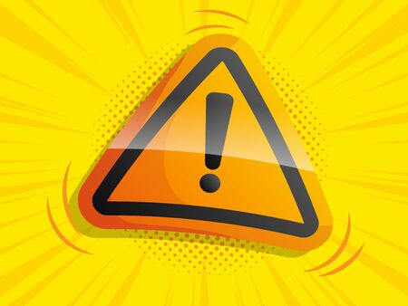 attention warning sign with comic background vector illustration