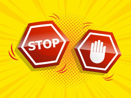 stop sign with comic background vector illustration