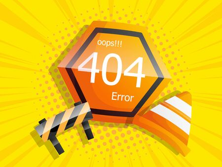 oops 404 error page not found comic background vector illustration