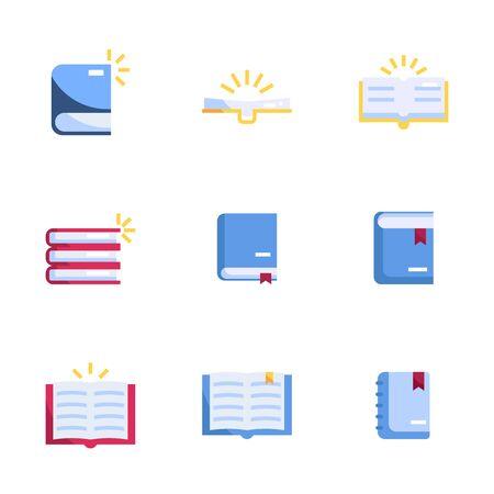 book icons set flat design vector illustration