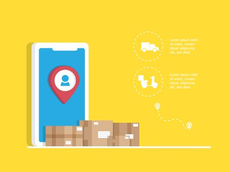 online delivery application with parcel box Иллюстрация