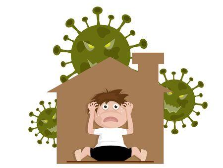 boy sitting in home and fear, panic covid-19 coronavirus, mental health concept cartoon vector