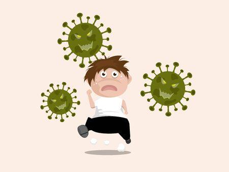 boy run away from covid-19 coronavirus