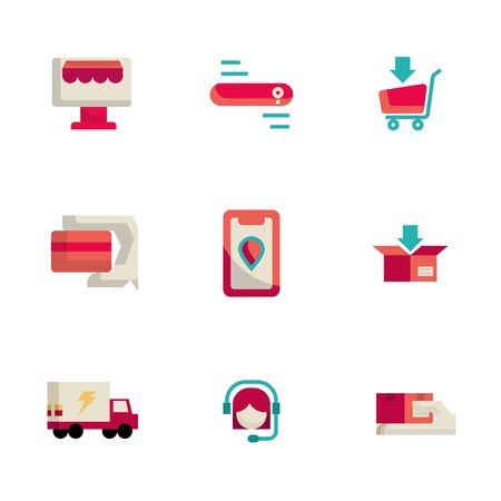 jeu d'icônes d'achat et de livraison en ligne