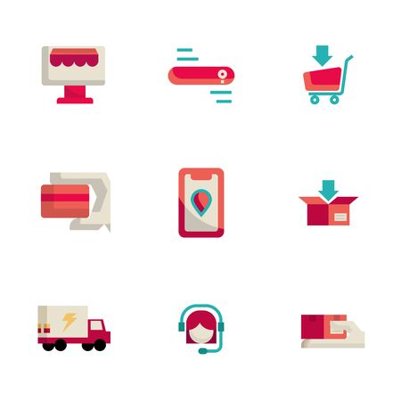 online shopping and delivery icons set