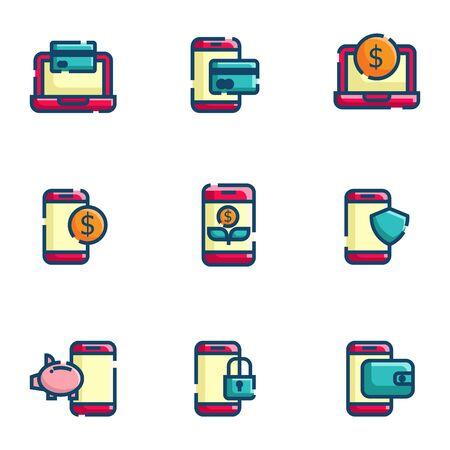 online payment and money management icon set flat design vector illustration
