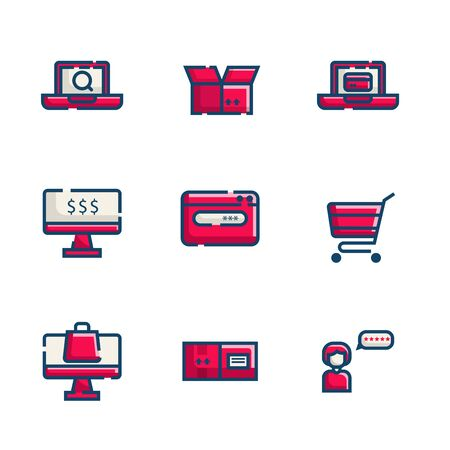 online shopping and delivery icon set