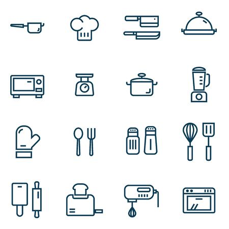 cooking appliance simple thin line icons set vector illustration