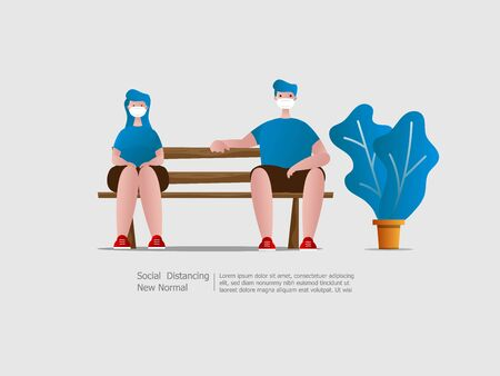 boy and girl wearing face mask and sitting with social distancing quarantine to outbreak and protect virus spread cartoon vector illustration flat design