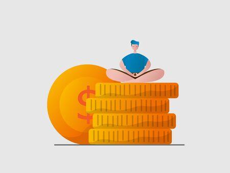 man relax sitting meditation on stack of money coins cartoon vector illustration flat design Illustration