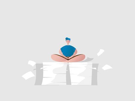 man relax sitting in meditation pose on a pile of paper work vector illustration cartoon flat design Stock Illustratie
