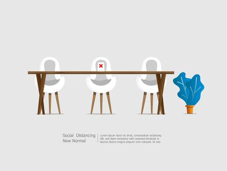 table and chairs with social distancing concept for outbreak and protect virus spread vector illustration