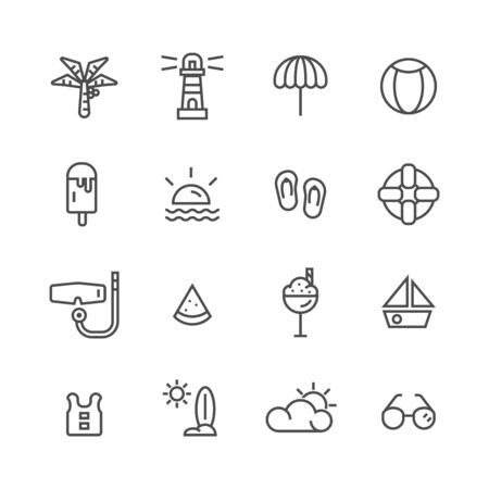 summer beach simple line icons set vector illustration