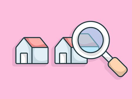 real estate concept finding home with magnifying glass vector illustration flat design