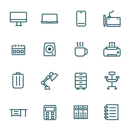 office supplies on work desk simple line icons set vector illustration