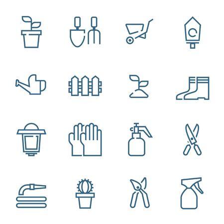 garden tools icons set simple flat design vector illustration