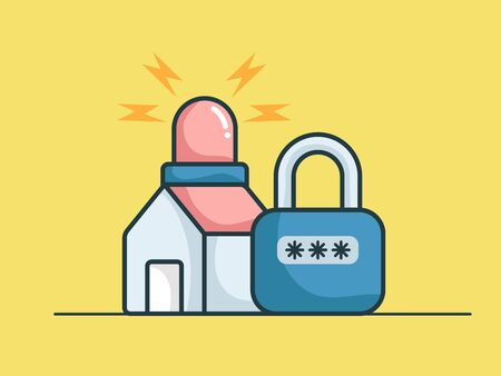 home security concept with siren light and key locked vector illustration
