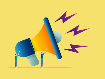 advertising concept two man with big megaphone vector illustration 向量圖像