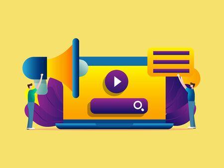 online and digital media marketing vector illustration