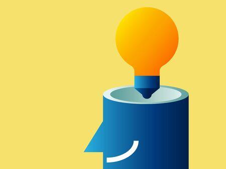idea bulb in head cartoon vector illustration