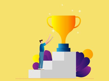 success concept man on stairs to gold cup trophy cartoon vector illustration flat design 矢量图像