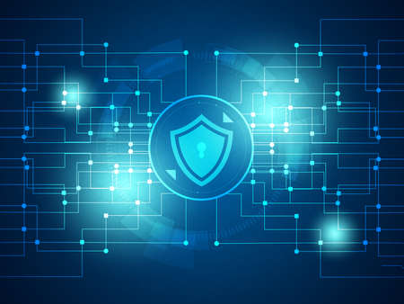 cyber security technology background vector illustration