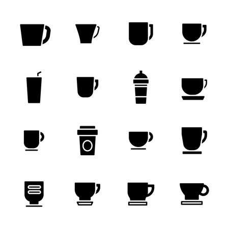 set of coffee cup icons flat design vector illustration