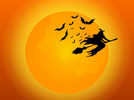 witch flying with bats and full moon in halloween night cartoon vector illustration