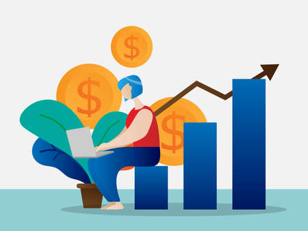 girl working with laptop for money and growth graph cartoon vector illustration