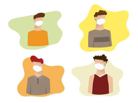 people wearing medical mask for avoid and quarantine virus vector illustration cartoon flat design