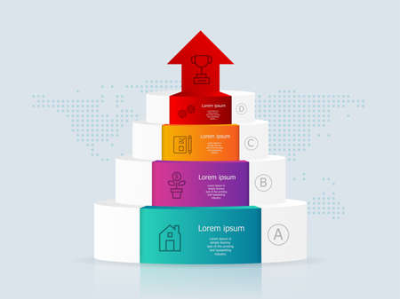 abstract podium timeline infographics 4 steps with world map for business and presentation vector illustration background
