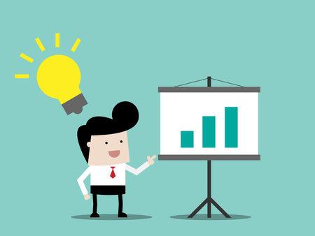 businessman with idea on presentation business concept cartoon vector illustration flat design