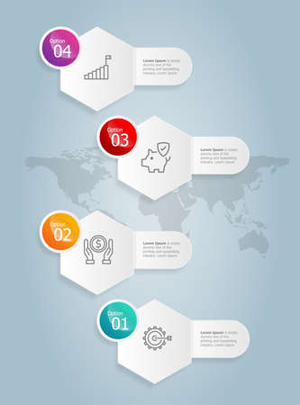 abstract hexagon vertical infographics presentation element template with business icon 4 option vector illustration background