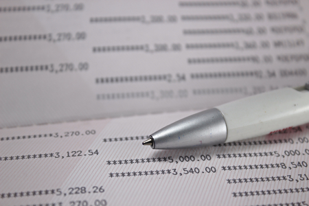 creditcard: A pen  on account book. selective focus. Stock Photo