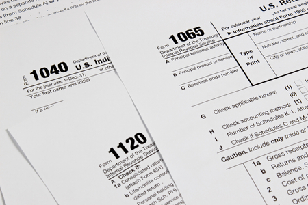 US tax form for taxation concept background