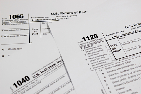 tax form: US tax form for taxation concept background