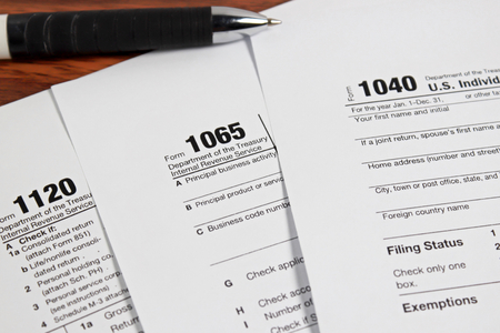 tax form: US tax form with pen