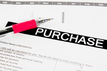 orden de compra: Compra formulario de pedido con la pluma
